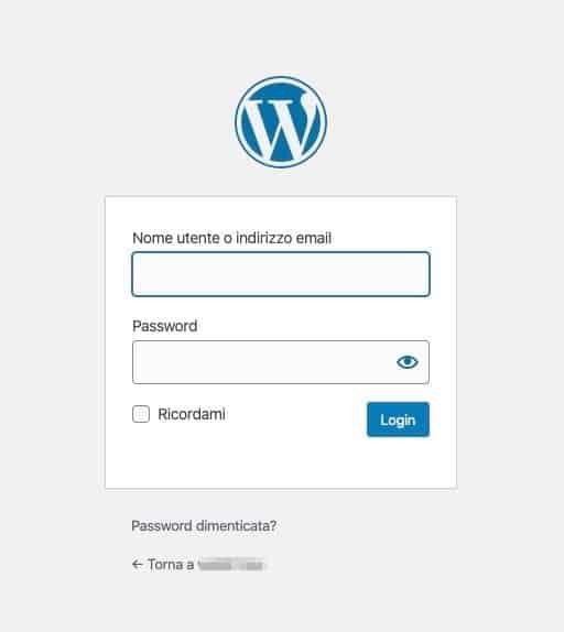 Pagina di login del tuo sito WordPress